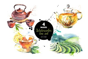 Watercolor Tea Vector Set