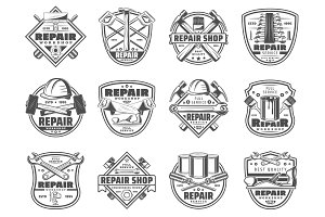 Home repair work tools icons