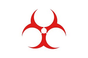 Biohazard danger glyph color icon