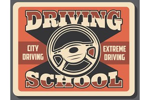 Driving school retro signboard
