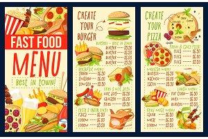 Fast food burgers and pizza menu