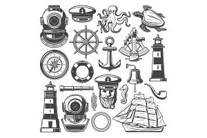 Nautical and marine sailing icons