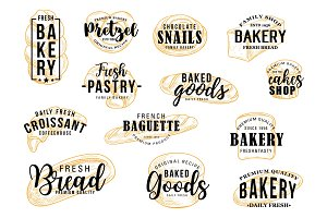 Bakery shop, bread, pastry lettering