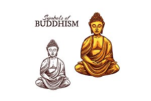 Buddhism religion and Buddha sketch