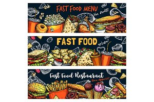 Fast food burgers, pizza, hot dogs