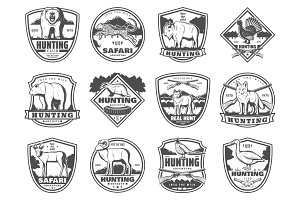 Hunting sport and adventure icons