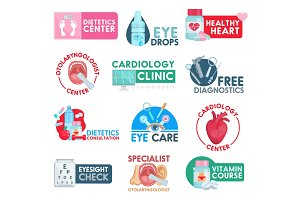 Cardiology and dietetics icons