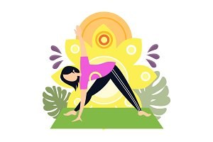 Woman yoga sport exercise vector