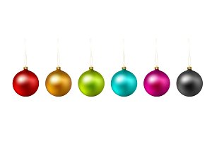 Set of color Christmas ball on white