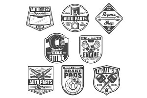 Car service, spare parts store icons