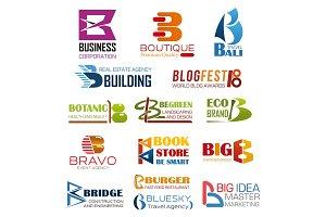Business brand identity letter B