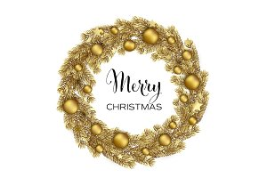 Christmas Wreath with Gold Pine