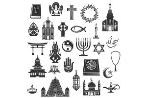 World religions vector symbols