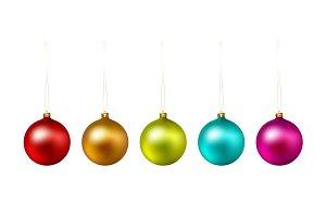 Set of color Christmas ball on white