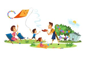 Family picnic colorful poster