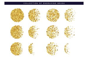 Brush stipple gold confetti