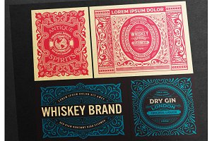 Set of 4 vintage labels  ready print