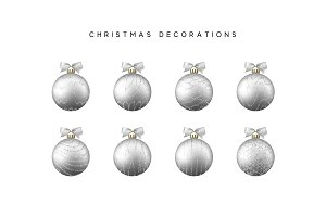 Xmas set balls silver color.