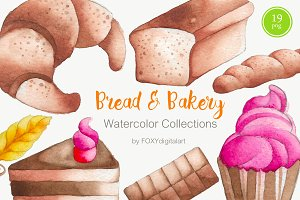 Bread and bakery watercolor clipart