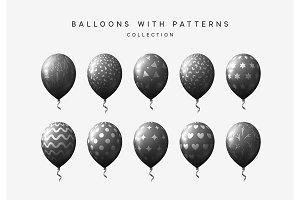 Set of black balloons