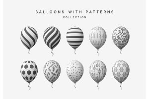 white and black balloons