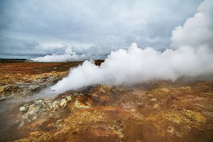 Steaming geysers in a beautifil