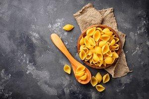 Raw uncooked italian conchiglioni