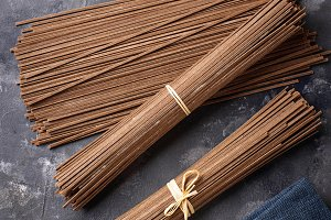Raw uncooked Japanese soba noodles