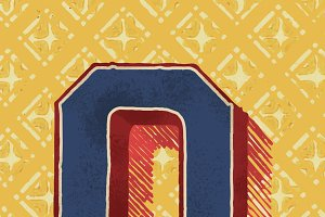 Capital letter O vintage typography
