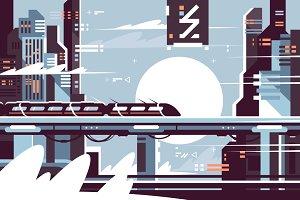 Futuristic fantastic train of future