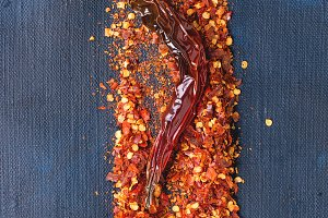 Flakes of red hot chili peppers
