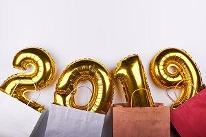 Golden New Year 2019 balloons