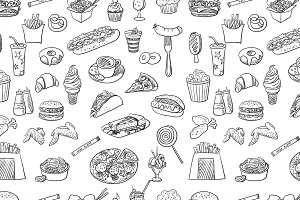 Hand drawn fast food pattern
