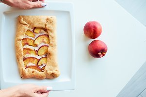 Homemade french Galeta with peaches