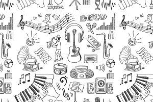 Hand drawn music pattern