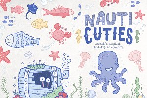 Cute Nautical Creatures and Elements
