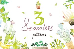 3 Tile Watercolor Cactus Patterns