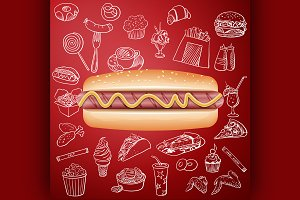 hot dog and hand draw fast food icon