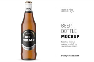 Brown beer bottle mockup