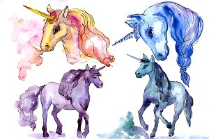 Beautiful unicorns PNG watercolor