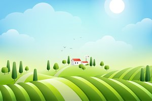 Morning rural landscape with house