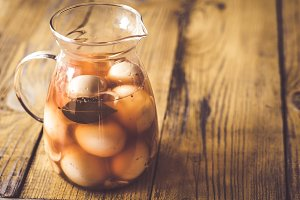 Pickled eggs in the glass jug