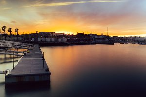 Idyllic sunset in Cascais, Portugal