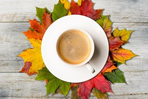 Autumn coffee and leaves