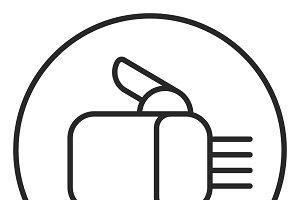 Robot hand stroke icon, logo