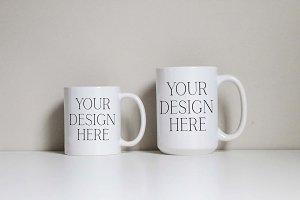 Basic 11 & 15 Ounce Mug Mockup