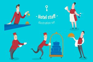 Hotel staff, 6 characters