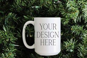 15 oz Pine Tree Christmas Mug Mockup