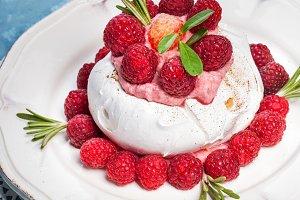 Meringue pavlova cake with whipped c