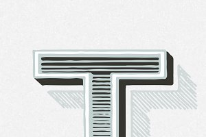 letter T vintage typography style
